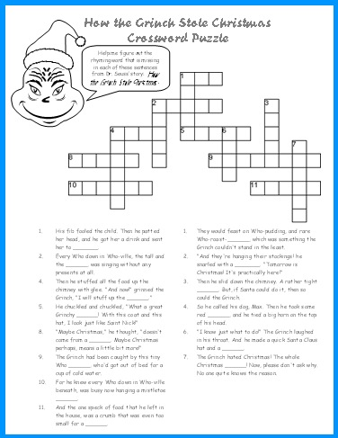 adult christmas crossword puzzle