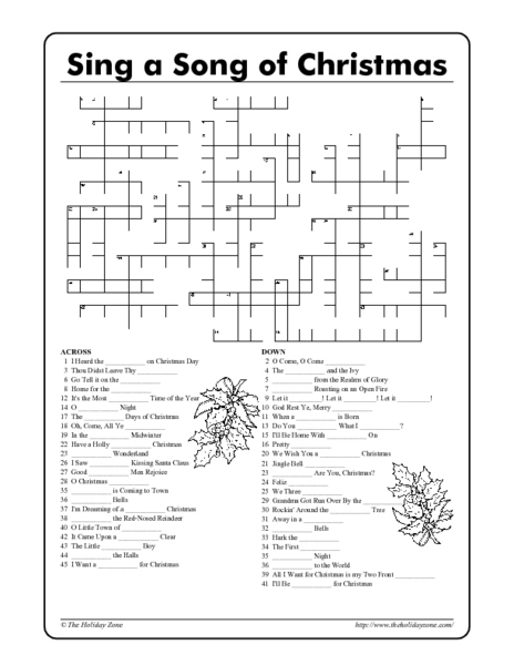 20 Fun Printable Christmas Crossword Puzzles | Kitty Baby Love