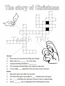 Easy Crossword Puzzle for Christmas