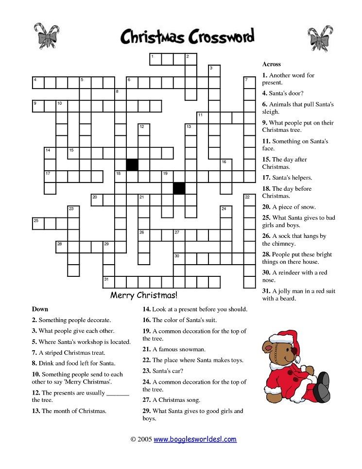 photo about Holiday Crossword Puzzles Printable named 20 Entertaining Printable Xmas Crossword Puzzles