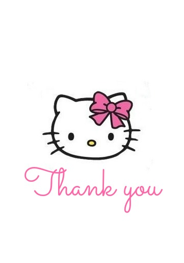 Hello Kitty Thank You Coloring Pages : Hello kitty thank you cards printable freekitty baby love