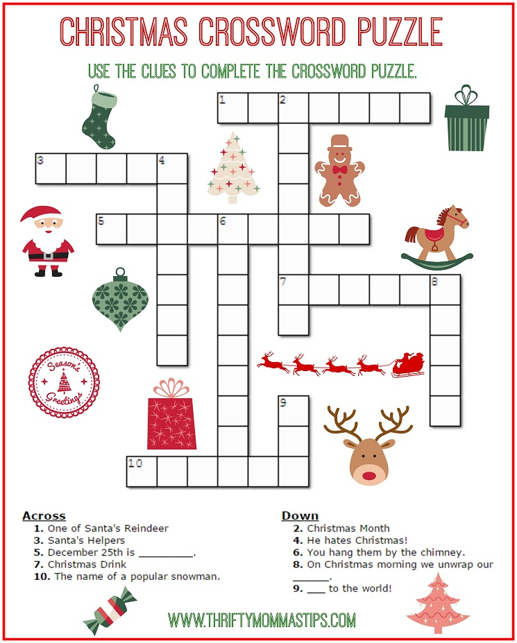 20 Fun Printable Christmas Crossword Puzzles – Kitty Baby Love