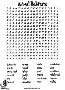 Animal Habitat Word Search