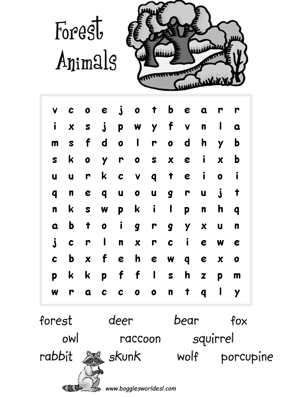 It's just a picture of Effortless Animal Word Search Printable