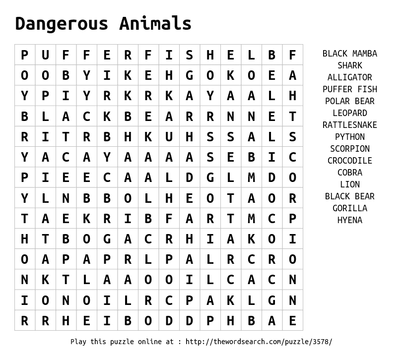 photo relating to Animals Word Search Printable identified as 20 Exciting Animal Phrase Queries