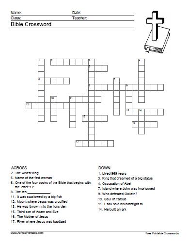 graphic regarding Printable Crossword Puzzles for Teens referred to as 15 Entertaining Bible Crossword Puzzles