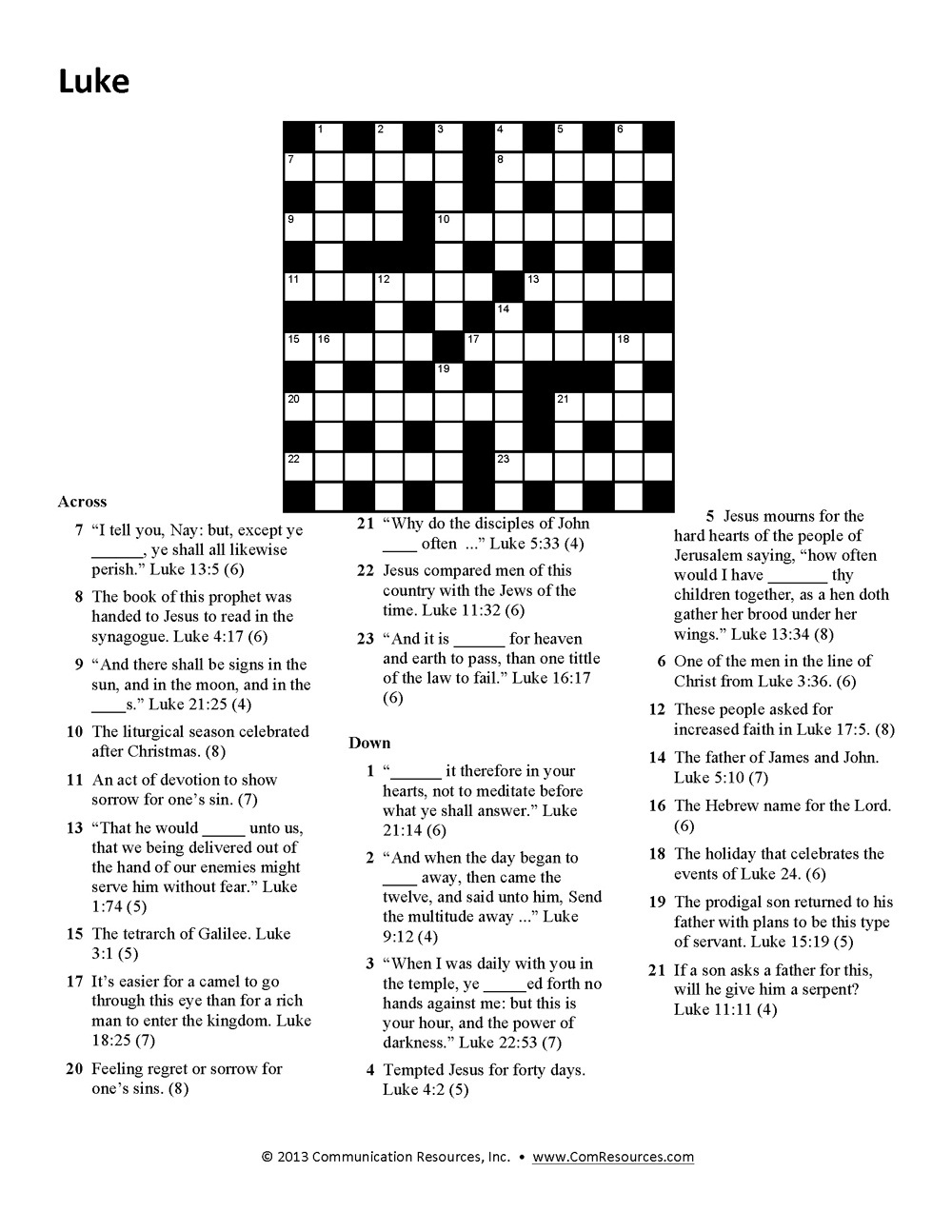 picture relating to Printable Bible Crossword Puzzles called 15 Pleasurable Bible Crossword Puzzles