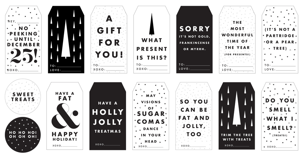black and white christmas tags