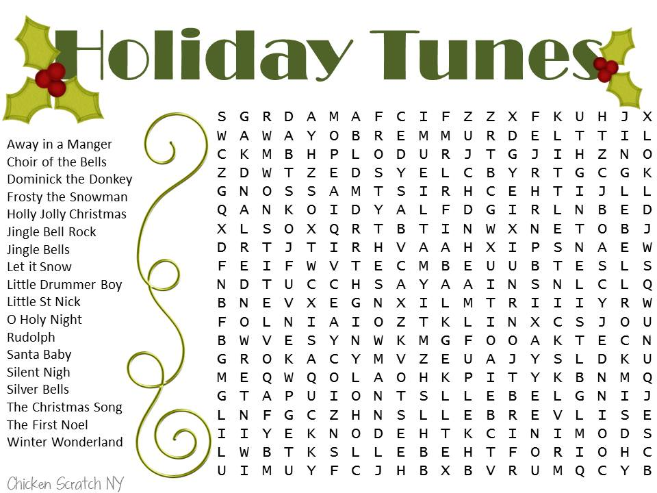 Printable Holiday Word Search Puzzles Adults Get Home Inteiror