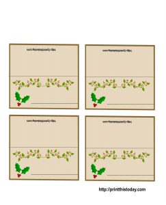 Free Printable Christmas Name Place Cards