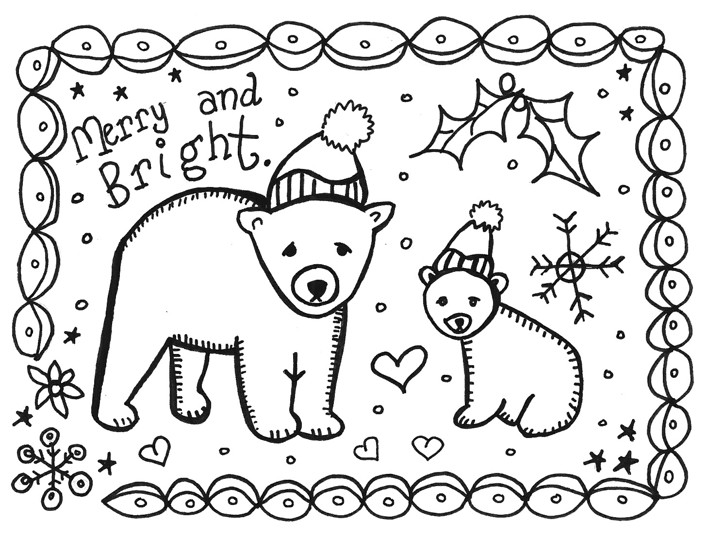 Pictures to color in - Printable Christmas Cards To Color