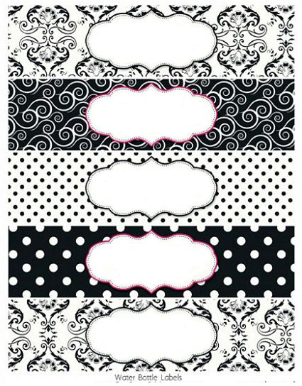 Printable Water Bottle Labels Black And White