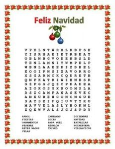 Spanish Christmas Word Search