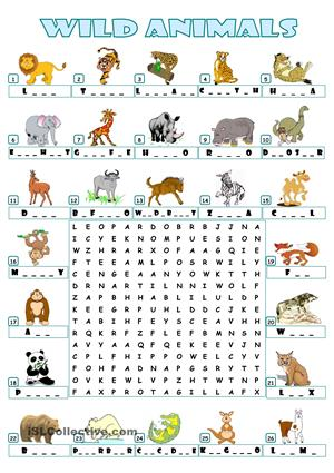 20 fun animal word searches. Black Bedroom Furniture Sets. Home Design Ideas