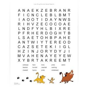 Word Search on Animals