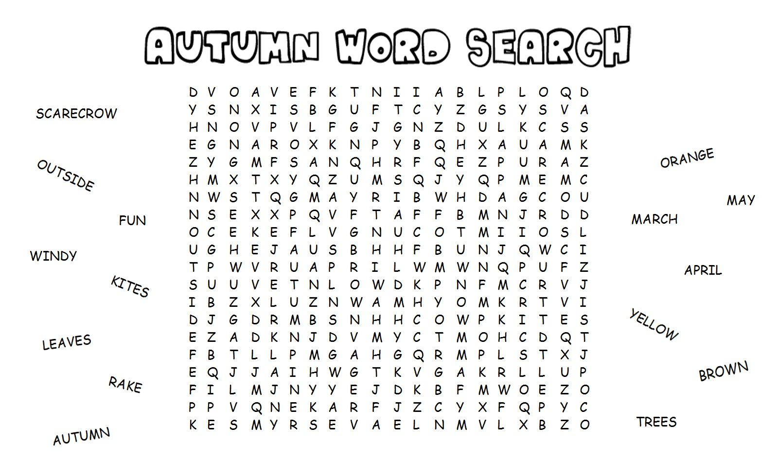 18 Fun Fall Word Search Puzzles – Free Fall Worksheets