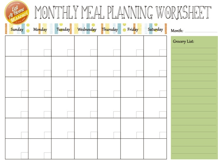 Monthly Meal Plan Calendar : Useful printable monthly meal planners kitty baby love
