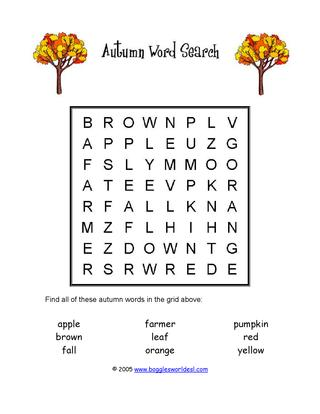 Invaluable image with fall word search printable