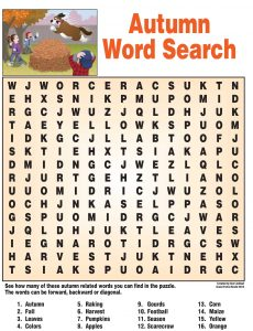 Fall Word Search Middle School
