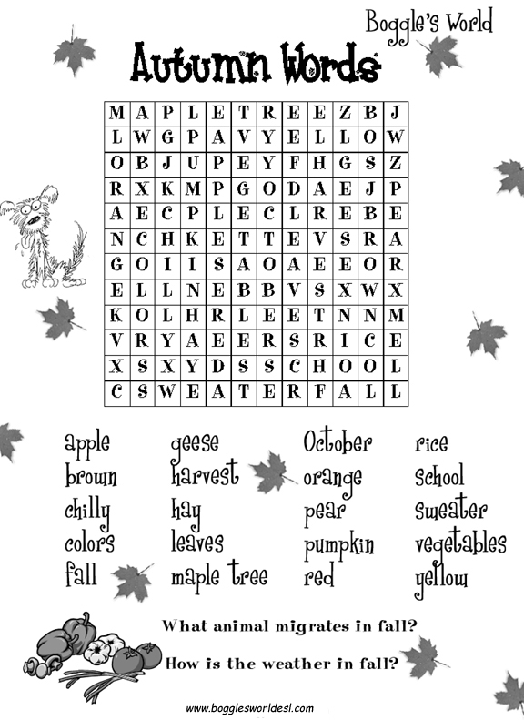 Adorable image for fall crossword puzzle printable