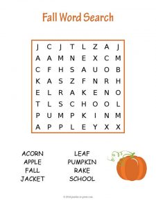 Fall Word Search for Kids
