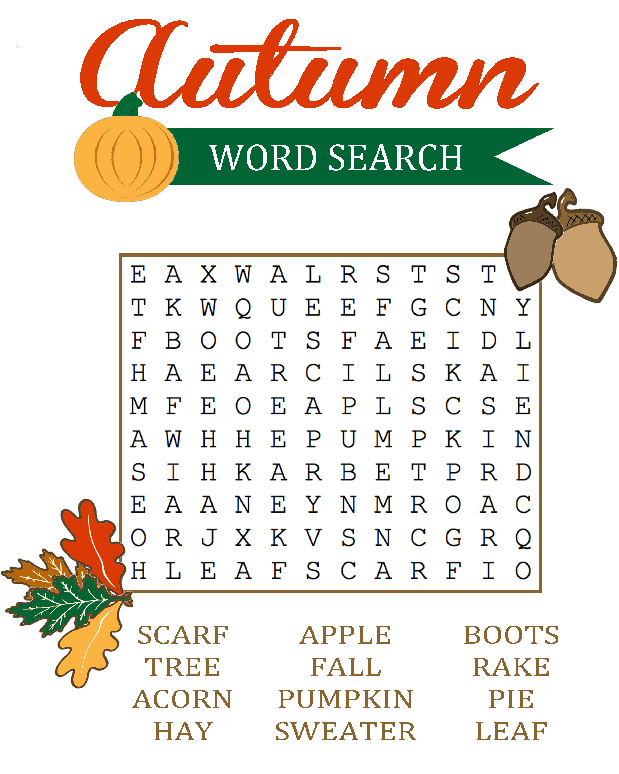 18 Fun Fall Word Search Puzzles : Kitty Baby Love