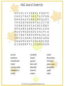 Fall Word Searches for Kids