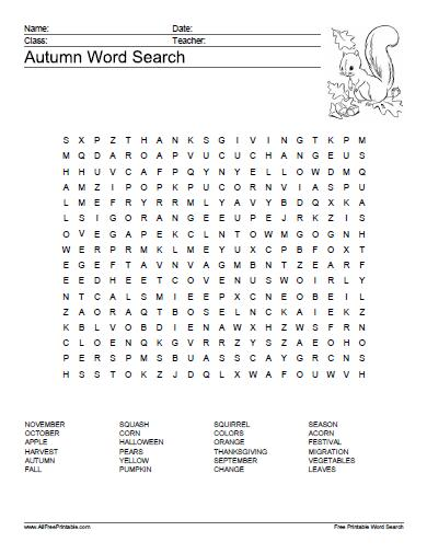 18 Fun Fall Word Search Puzzles Kittybabylove Com