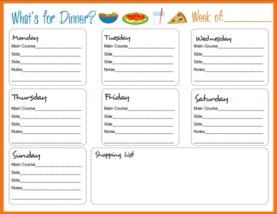 editable menu planner template