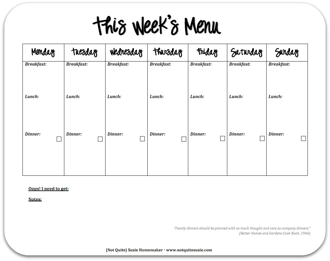 It's just an image of Agile Printable Weekly Menu