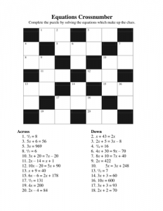 Free Printable Math Crossword Puzzles