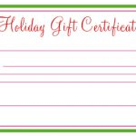 Holiday Gift Certificate Template Free Printable