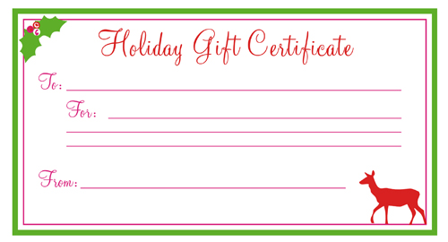 Holiday Gift Certificate Template Free Printablekitty Baby Love