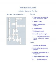 Math Crossword Puzzles for High School