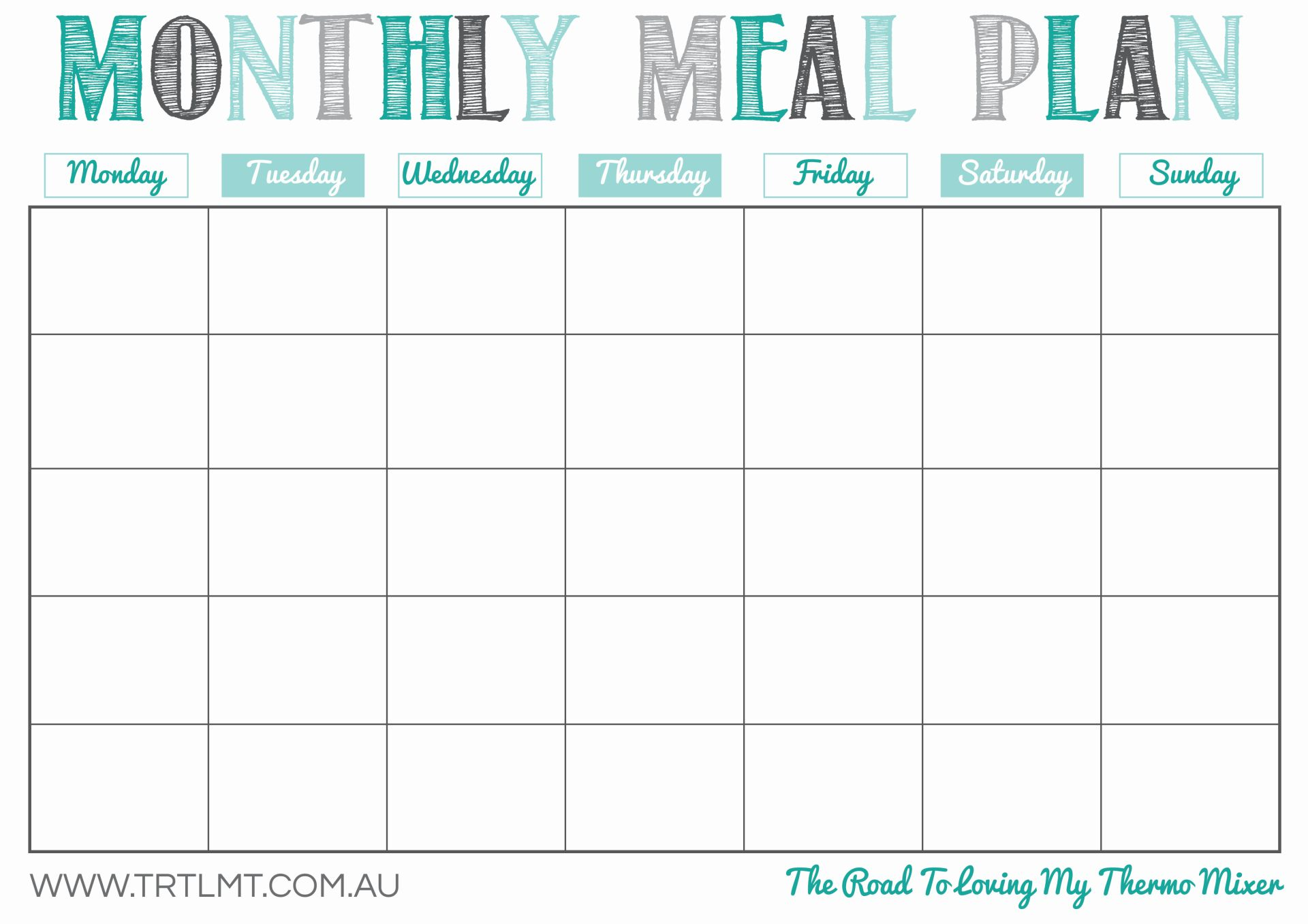 28 Useful Printable Monthly Meal Planners | KittyBabyLove.com