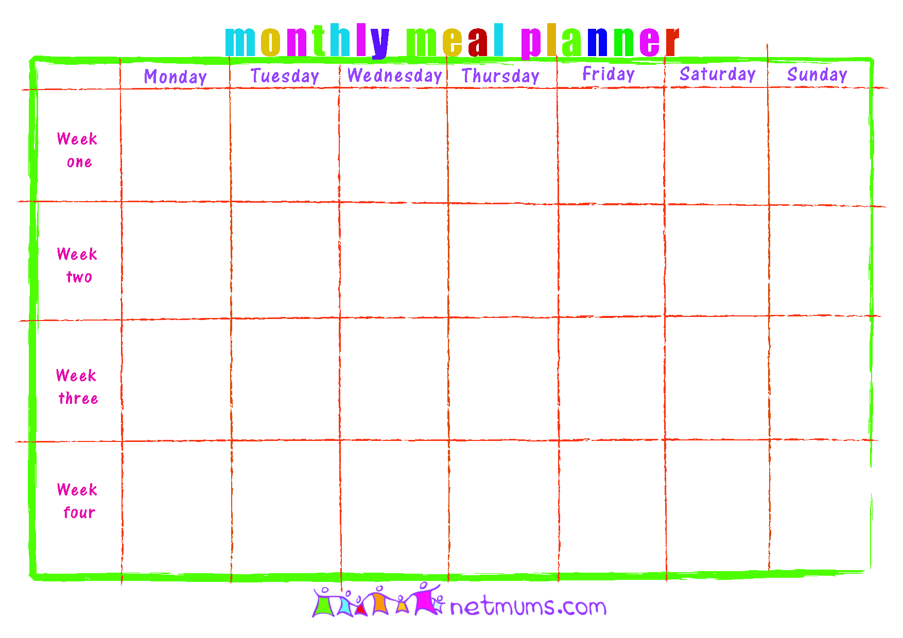 Monthly Menu Template Word