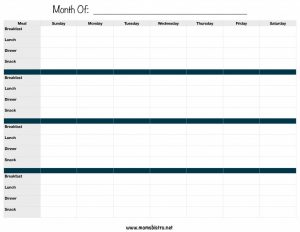 Monthly Meal Planner with Breakfast Lunch and Dinner