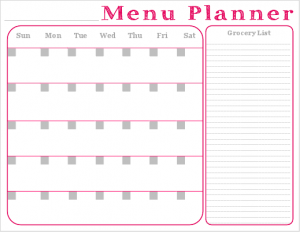 Monthly Meal Planner with Grocery List