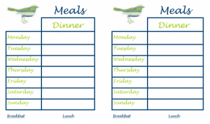 Monthly Meal Planners