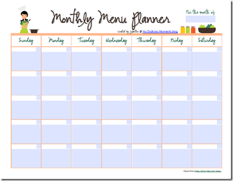 28 useful printable monthly meal planners kitty baby love. Black Bedroom Furniture Sets. Home Design Ideas