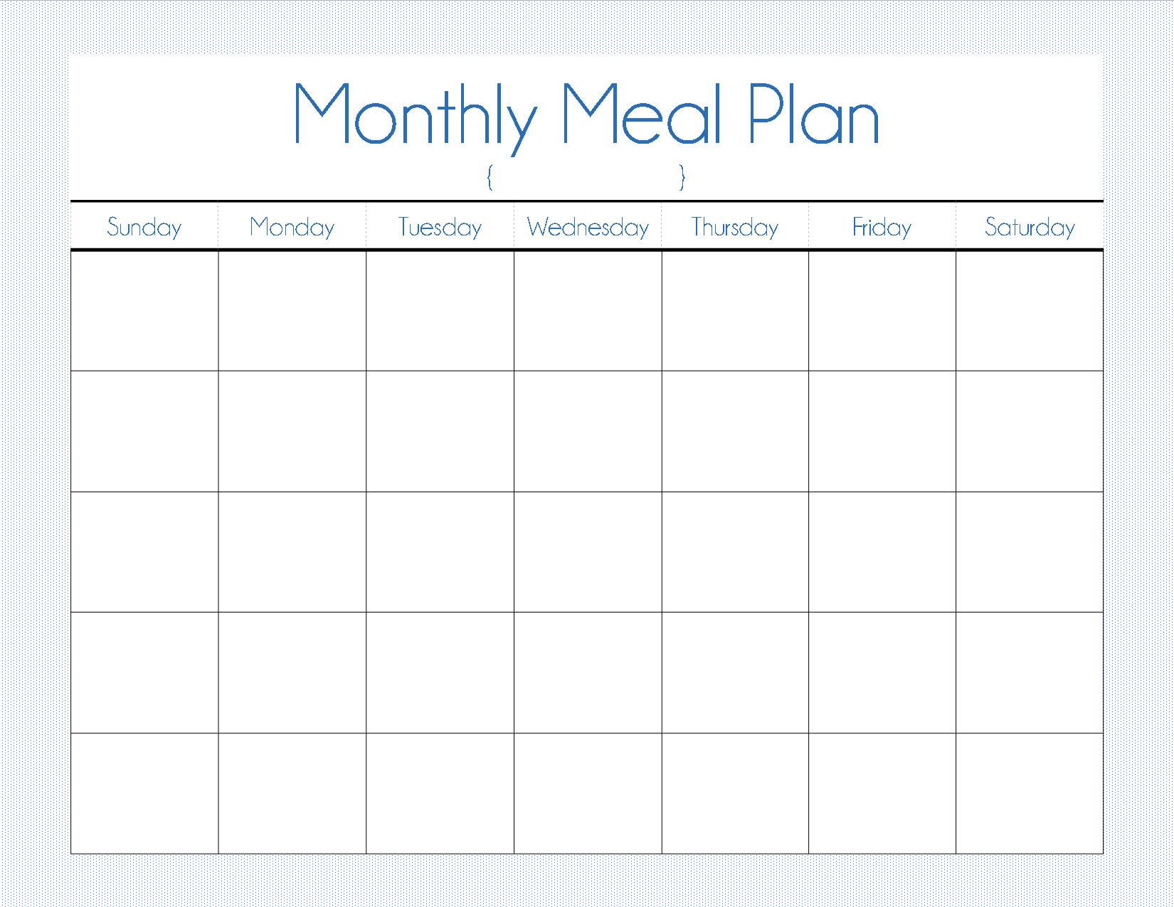 It's just a graphic of Delicate Printable Monthly Menu Planner