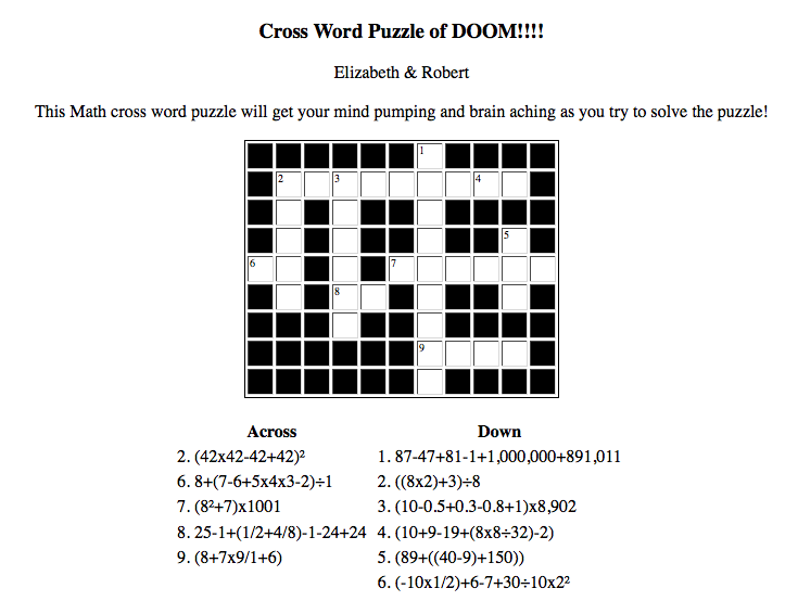 Modest image pertaining to math crossword puzzles printable