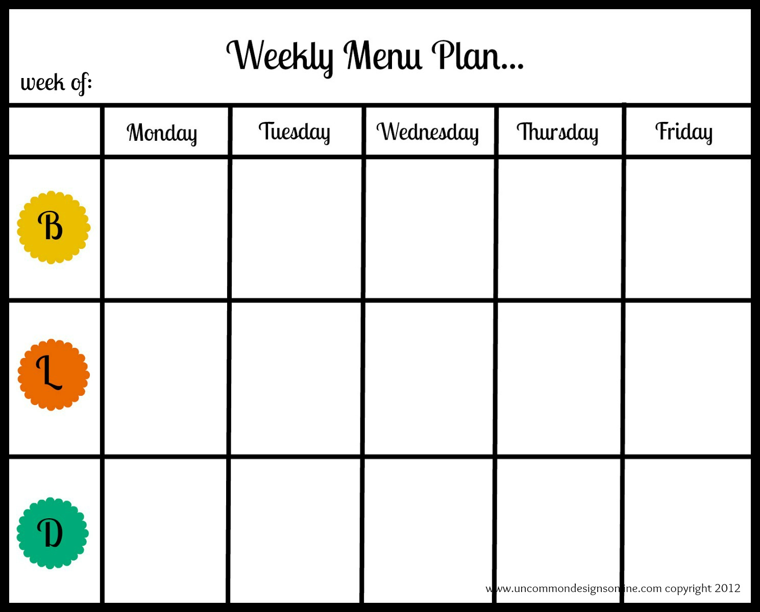 It is a picture of Magic Printable Weekly Menu