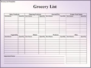 Refreshing image within printable blank grocery list