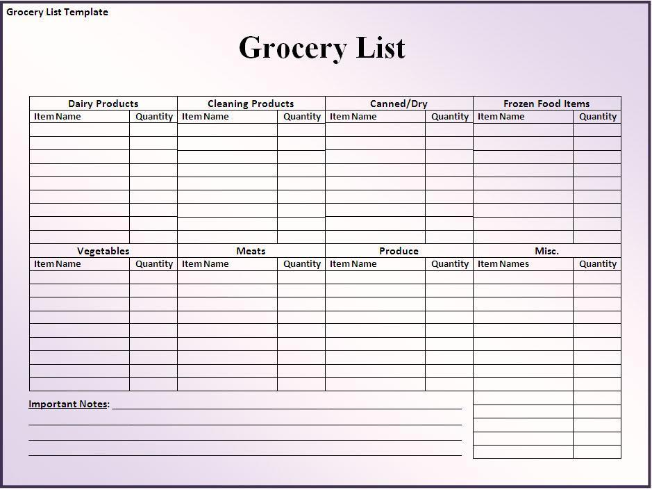 Blank Grocery List Template  Printable Grocery List Template Free