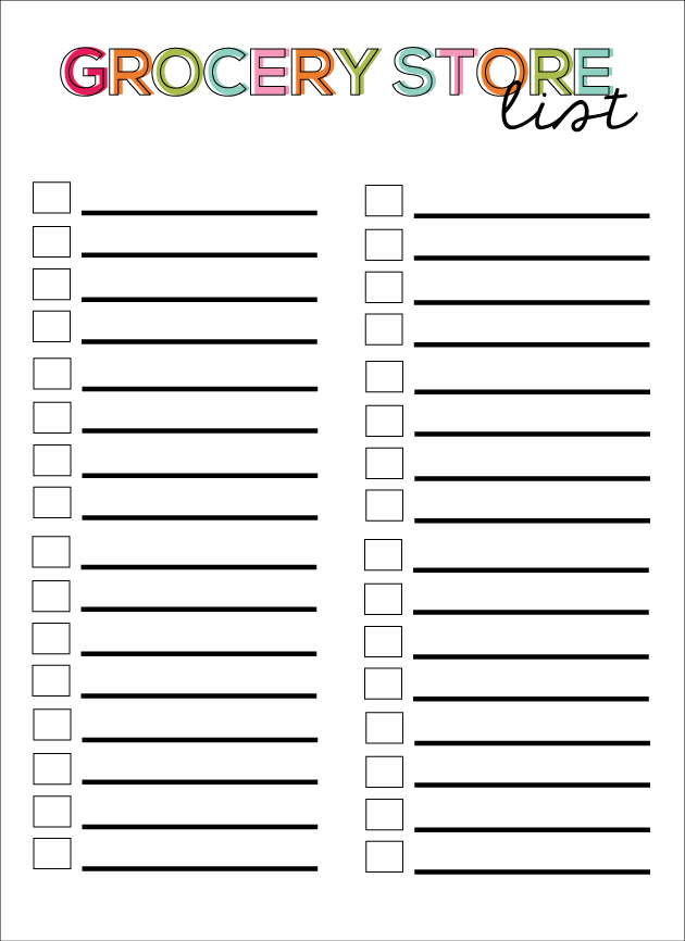 Printable Shopping List Template  Grocery Checklist Template