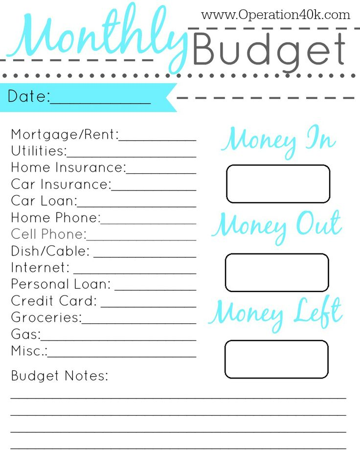 Budget planning worksheet printable
