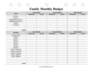 Family Monthly Budget Planner