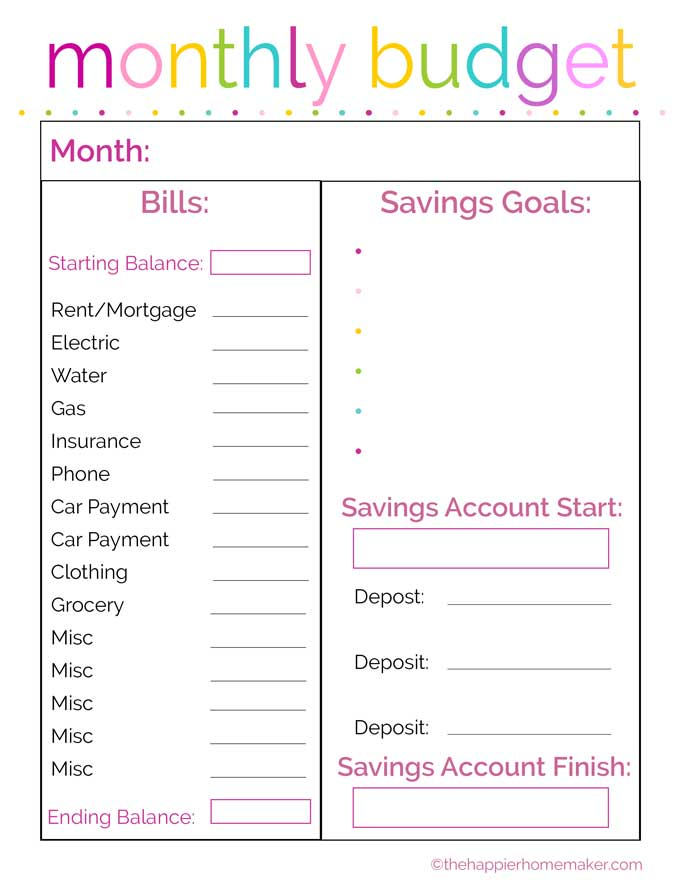 Free Printable Fortnightly Budget Planner Template