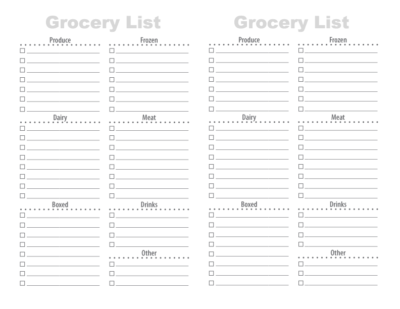Delightful Free Printable Grocery List With Printable Grocery List Template Free